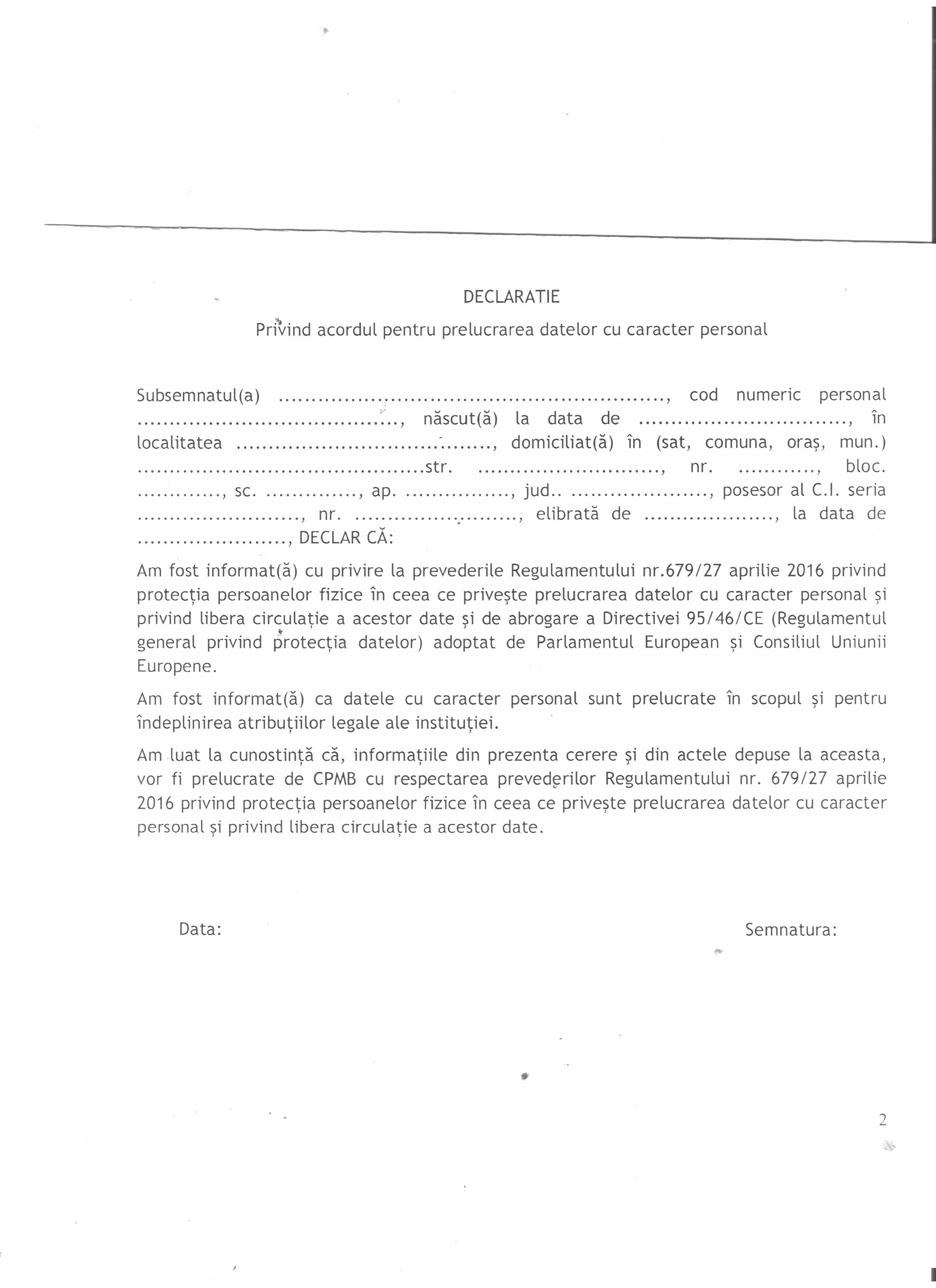 declaratie privind prelucrarea datelor cu caracter personal 001